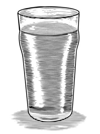 Woodcut illustration of a beer glass isolated. Ilustracja