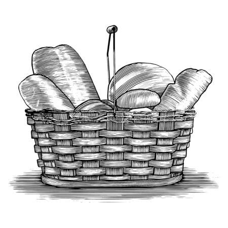 Woodcut illustration of a basket of bread. Standard-Bild - 131642195