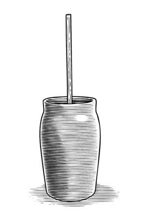 Woodcut illustration of an antique butter churn.