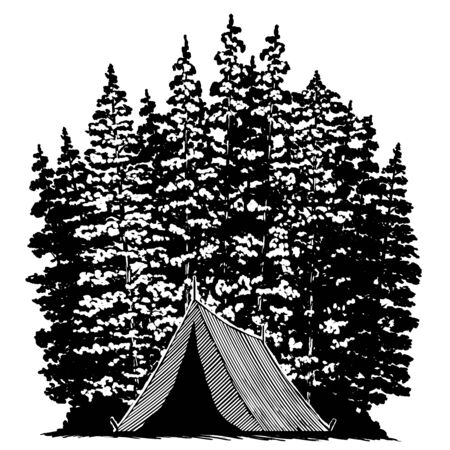 Woodcut-style illustration of a tent with trees in the background. Ilustração
