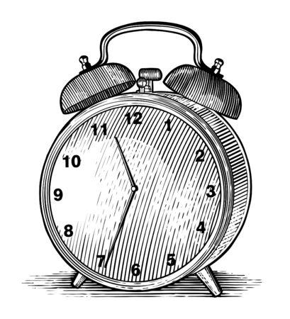 Woodcut-style illustration of an alarm clock isolated. Illustration