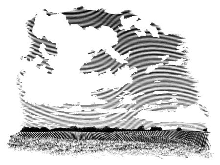 Woodcut-style illustration of a farm landscape with clouds in the background. Illusztráció