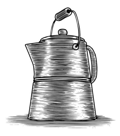 Woodcut illustration of an old coffee pot.