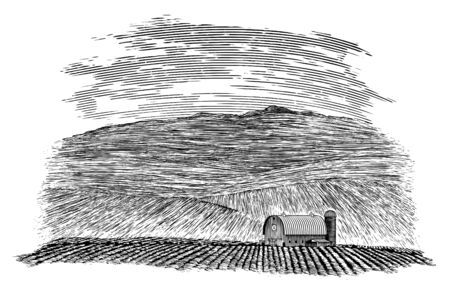 Woodcut-style illustration of a barn and field.