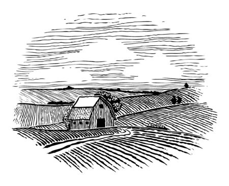 Woodcut Illustration of a farm with a road leading back to a barn.
