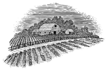 Woodcut-style illustration of a country road passing by a barn and fields.