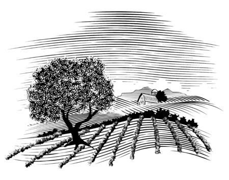 Woodcut style illustration of a farm scene with a barn in the background.