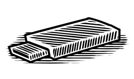 Woodcut illustration of a flash drive.