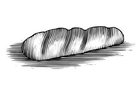 Woodcut French loaf of bread isolated on white.