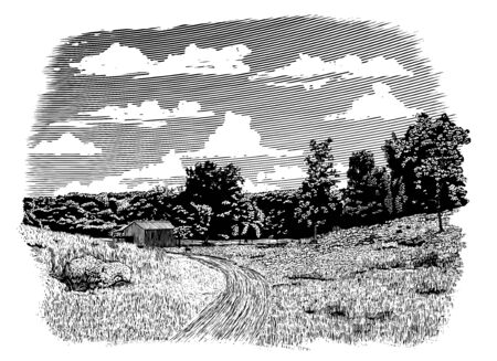 Woodcut-style illustration of a dirt road leading back to an old barn. Çizim