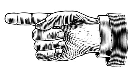 Woodcut illustration of a hand pointing isolated.