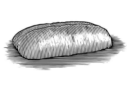 Woodcut illustration of an Italian loaf of bread. Illusztráció