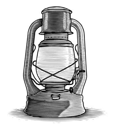 Woodcut illustration of an old oil lantern.