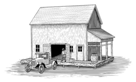 Woodcut illustration of a man loading a truck that is backed up to an old loading dock.