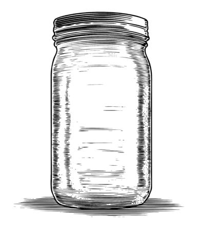 Illustration of an old glass mason jar used for canning.