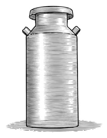 Woodcut illustration of an antique milk can.
