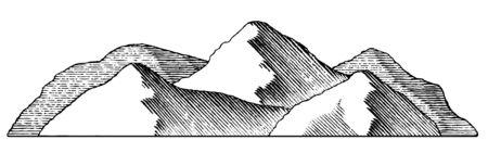 Woodcut style illustration of a mountain range. 向量圖像