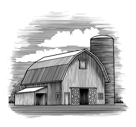 Woodcut illustration of an old barn next to a silo. Çizim