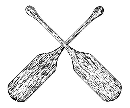 Woodcut illustration of a pair of boat oars.