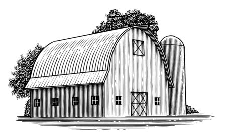 Woodcut illustration of a barn with a round roof.