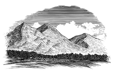 Woodcut-style illustration of a mountain scene with rolling hills in the foreground.