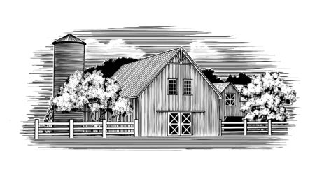 Woodcut illustration of an old barn and silo. Ilustrace