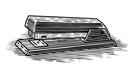 Woodcut illustration of a stapler isolated on white. Illusztráció