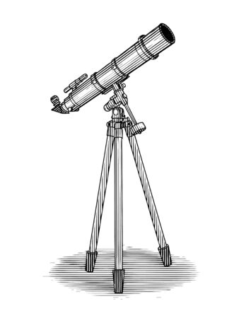Illustration de la gravure sur bois d'un télescope isolé sur blanc. Vecteurs
