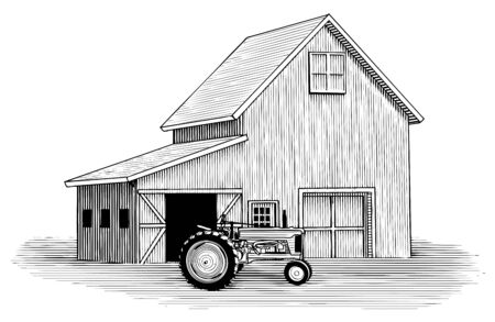 Woodcut illustration of a tractor with a barn in the background. Çizim