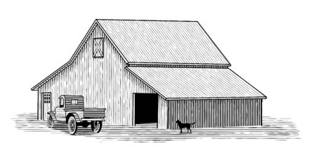 Woodcut illustration of a barn with a truck and pet dog in the foreground.