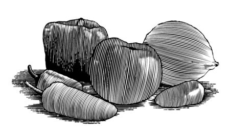 Woodcut-style illustration of a group of vegetables with a tamato, bell pepper, sweet peppers, and an onion.