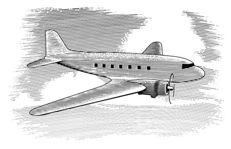 Woodcut style illustration of a vintage airplane with clouds in the background.