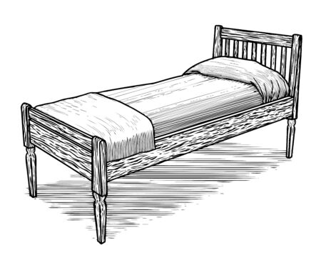 Woodcut illustration of an old bed.