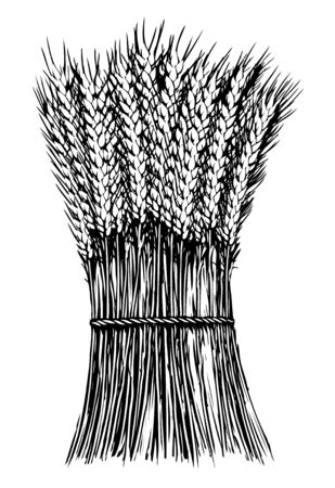 Woodcut illustration of a stack of wheat.