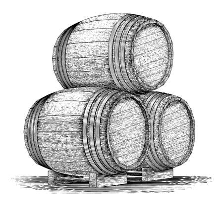 Woodcut-style illustration of a stack of wooden barrels. Ilustração Vetorial