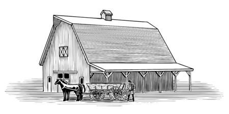 Woodcut illustration of a farmer loading crates on to a horse-drawn wagon.