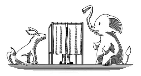 Doodle-style illustration of an election booth with a donkey and elephant waiting outisde.