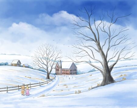 """A watercolor-style illustration of a scene from Charles Dickens' book """"A Christmas Carol"""" with Ebenezer Scrooge visiting his childhood with the ghost of Christmas past. Stock fotó"""