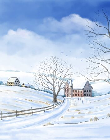 """A watercolor-style illustration of a scene from Charles Dickens' book """"A Christmas Carol� with Ebenezer Scrooge visiting his childhood with the ghost of Christmas past. Stockfoto"""