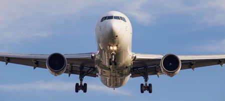 Passenger jet coming in to land at Itami airport, Osaka.