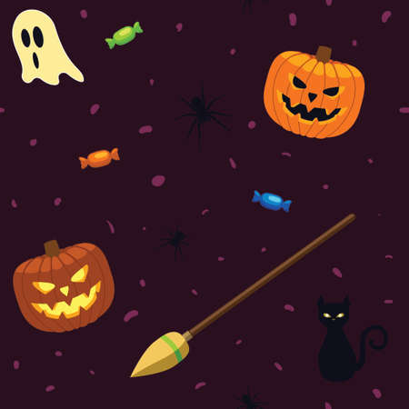 Vector - Seamless repeatable Halloween pattern vector illustration. Jack o lantern witches broomstick ghosts spiders cat and candy, bordeaux background for holiday design. Illustration