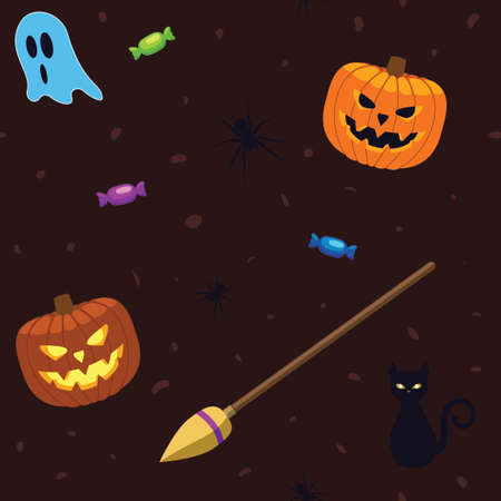 Vector - Seamless repeatable Halloween pattern vector illustration. Jack o lantern witches broomstick ghosts spiders cat and candy, brown background for holiday design. Illustration