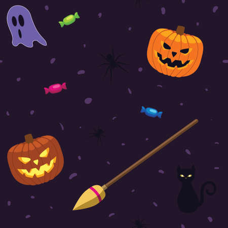 Vector - Seamless repeatable Halloween pattern vector illustration. Jack o lantern witches broomstick ghosts spiders cat and candy, purple background for holiday design. Illustration