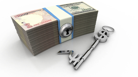 keys to heaven: Dollar and Rupee sign key along with U.S. and Indian bills. High quality sharp 3d rendering Stock Photo