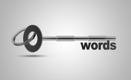 metadata: Keywords concept, High resolution sharp 3d rendering