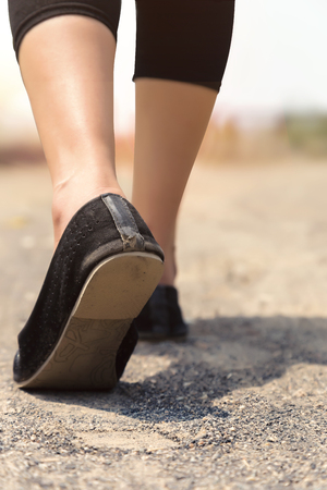legging: Woman with legging and Ethnic Footwear. Stock Photo