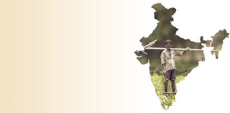Map of India shows Indian farmer portrait holding plow on white gradient background, Indian agriculture, Kisan diwas concept Stock Photo