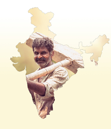 Map of India shows Indian farmer portrait holding plow on white gradient background, Indian agriculture, Kisan diwas concept 스톡 콘텐츠