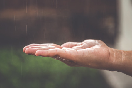 Hands catching clean falling rain drops close up. Environmental and healthcare concept. Archivio Fotografico