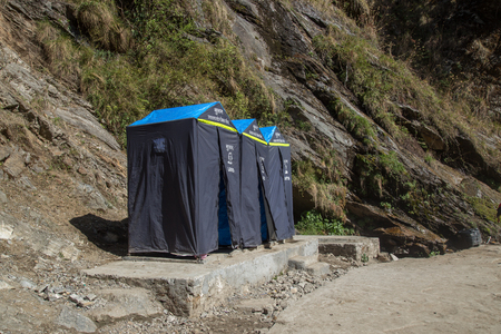 Toilet on the way in the valley of himalayan mountain for char dham yatra Stock Photo